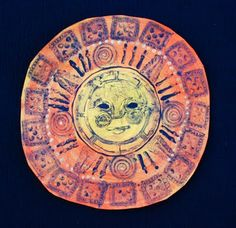 that artist woman: Aztec Sun Stones -stamp with foam; paint techniques; culture, art history