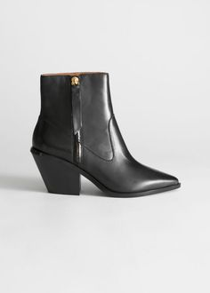 Pointed Ankle Boots - Black - Ankleboots - & Other Stories Black Chelsea Boots, Leather Chelsea Boots, Black Suede Boots, Pointed Ankle Boots, Leather Ankle Boots, Suede Leather, Kitten Heel Boots, The Brunette, Boot Shop