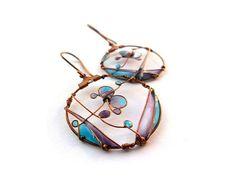 Blue purple butterfly earrings, copper dangle earrings, wire wrapped resin earrings, spring jewelry