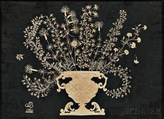Early Cutwork Picture of an Urn of Flowers, probably America, with cutwork…