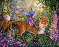 Heavenly art~Pink Foxgloves, Fairies & Fox in Foxglove boots, this painting is absolutely joyful & magical! ♥ Art by Josephine Wall Josephine Wall, Red Rose Pictures, Fairy Pictures, Filly, Dragons, Celtic Dragon, Celtic Art, Unicorns And Mermaids, Beautiful Fantasy Art