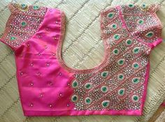 5849371c560a35 Heavy work kundan pink and green stones maggam work blouse Stone Work Blouse