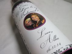 Ask your Girls to be your Bridesmaids Wedding Wine Label by ClassicWeddingDesign