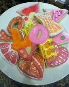 Mod Valentines on Shortbread with flood and stiff icing, sanding sugar, and dragees
