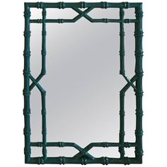 Faux Bamboo Wall Mirror Vintage Newly Lacquered Chinese Chippendale Teal Blue