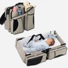 diaper bag, carry cot and changing station