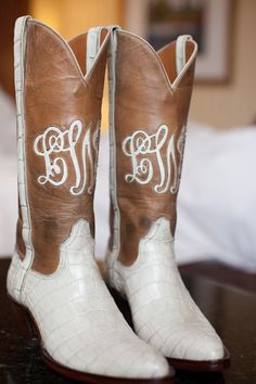 Custom Monogrammed Wedding Cowboy Boots