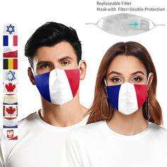 Masque lavable masque facial pour la poussière mascaralva réutilisable maska masque de bouche respirant espagne/France drapeau National - Prix France Activated Carbon Filter, Ear Loop, Sell On Etsy, Dance Wear, Filters, Flag, Personal Care, Cover, Prints