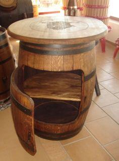 Mesa mueble Barrel Projects, Fun Projects, Tapas, Ideas Baratas, Wine, Furniture, Home Decor, Cheap Furniture, Glass Bottles