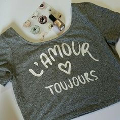 H&M L'Amour Crop Top NWOT. Adorable gray top with white writing. H&M Tops Crop Tops