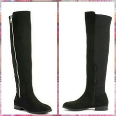 Black Knee-high Boots Almost new condition. Worn two times. Knee-high design. Will give any outfit a sleek finishing touch. Outer zipper in silver color is a faux zipper. Inner zipper in black is the real closure.  -Round toe -Microfiber upper -TBR outsole -1in heel -17.5 in shaft -12 in circumference- does stretch. Boots have small scratch like lines in the inner side from rubbing next to each other. Pictured in 3rd photo but not noticeable unless u look closely due to color. Apt. 9 Shoes…