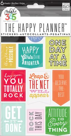 Stickers - Get It Done - Nothing is easier than customizing your planner with stickers! This value pack features stickers with inspirational sayings that were designed to fit perfectly in the daily columns of your weekly view in The Happy Planner™ ... and will help keep you motivated! Each package includes 6 sheets of stickers.