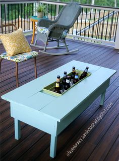 Strawberry Jam House: Porch Coffee Table with Built-in Cooler