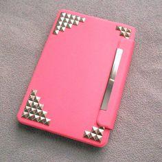 Studded ipad mini Case,Leather iPad mini Case, iPad mini Cover ,iPad,pink case with silver studs,studded mini ipad case--rotatable case on Etsy, $25.99 so pretty, need to find it!