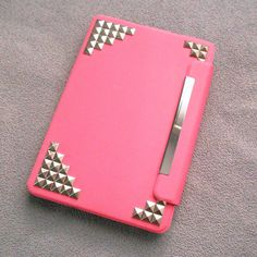 Studded ipad mini Case,Leather iPad mini Case, iPad mini Cover ,iPad,pink case with silver studs,studded mini ipad case--rotatable case on Etsy, $25.99 so pretty, need to find it!