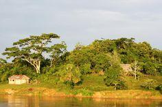 Loreto, Peru  Idyllic riverfront scenery and rustic dwellings, Lore