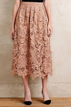 The length and color of this skirt are gorgeous, but the best part is the lace detail.
