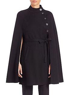 Carolina Herrera Wool Cape Coat - Black
