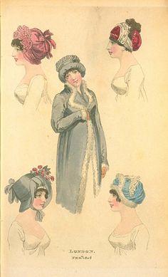 London Head Dresses, February 1806, Fashions of London & Paris