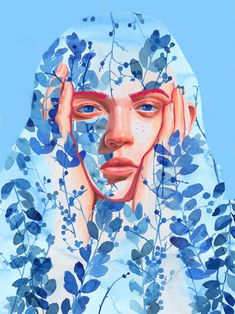 Revealing Struggles and Joy, Expressive Portraits Are Superimposed onto Watercolor Foliage | Colossal Portraits From Photos, Creative Portraits, Colossal Art, Plant Painting, Spanish Artists, Digital Portrait, Self Portrait Art, Digital Art, Portrait Illustration