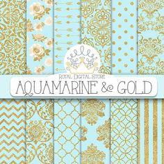 "Aqua blue digital paper: ""AQUAMARINE & GOLD"" with aqua blue and gold background, aqua blue scrapbook paper for scrapbooking, cards, wedding #damask #gold #partysupplies #blue #planner #digitalpaper #scrapbookpaper #wedding"