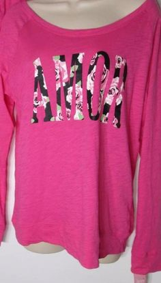 Jenni Large Pink Amor Sleepshirt Long Sleeves Scoop Neck  #JennibyJenniferMoore #Sleepshirt