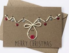 weihnachtskarten selber basteln coole weihnachtsbasteleien You are in the right place about gifts de Homemade Christmas Cards, Homemade Cards, Simple Christmas Cards, Christmas Gift Cards, Christmas Cards Handmade Kids, Chrismas Cards, Diy Christmas Invitations, Christmas Hamper Ideas Homemade, Stamped Christmas Cards