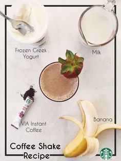 Coffee Smoothie Recipe Featuring Starbucks VIA® Instant Coffee Shake Recipe: Blend ¾ cup frozen greek yogurt, ¼ cup cold non-fat milk, 1 packet of Starbucks VIA, 1 whole banana, and 1 cup ice in a blender. Pour into a glass and garnish with a strawberry. Coffee Smoothie Recipes, Smoothie Recipes With Yogurt, Yogurt Smoothies, Coffee Recipes, Breakfast Smoothies, Smoothie Detox Plan, Smothie, Coffee Shake, Coffee Scrub