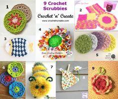 9 free crochet scrubbie pattern roundup http://crochetncreate.com/crochet-scrubbies/ #crochetncreate #crochet