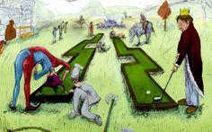 Historia golfa czy może minigolfa w pigułce.  Pierwsze zapiski dotyczące tego co dziś nazywamy golfem czy minigolfem pochodzą z przełomu XIV i XV stulecia z terenów Holandii, Francji, Belgii, Danii czy Włoch. Pallemaille, Chole, Colf czy Kolf to wszystko prekursorskie gry z terenów średniowiecznej Europy. W tamtym czasie wyglądało to tak: na ulicach miast ustawiano przeszkody, drewnianą piłeczkę wbijano do celu. Dziś celem jest dołek, wtedy była to studnia, kapelusz czy kalosz :)