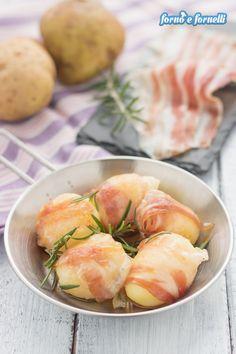 Bocconcini di patate e pancetta, ricetta con 2 versioni Bocconcini, Pancetta, Cantaloupe, Shrimp, Food And Drink, Meat, Fruit, Pizza, Oven