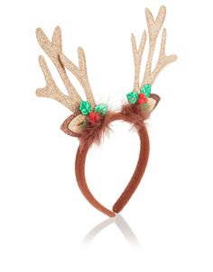 Give Rudolph a run for his money this Christmas with our glittery reindeer antlers headband, decorated with sprigs of holly and fluffy feathers. A fun festive gift!