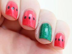 Spektor's Nails: Watermelon Nails. Summer fun time nails, duh! #nails #nail_art