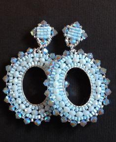 Beaded Post Earrings Light Blue Hoop Earrings by WorkofHeart