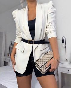 Cute Casual Outfits, Short Outfits, Stylish Outfits, Cute Blazer Outfits, Outfit With Blazer, Classy Chic Outfits, Dress Outfits, Elegant Summer Outfits, Sophisticated Outfits
