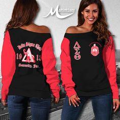 DELTA SIGMA THETA WOMEN'S OFF SHOULDER SWEATER 3 - Masonstars Delta Sigma Theta, Off Shoulder Sweater, Hippie Style, Custom Made, Graphic Sweatshirt, Boho, Stylish, Sweatshirts, Fabric