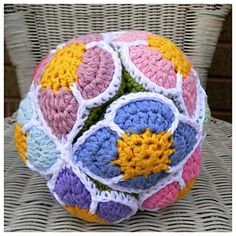 Flower Crochet Amish Puzzle Ball pattern by Dedri Uys ~ This will be a lovely present for the youngest Grand, born 8/12/15
