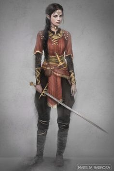 f Half Elf Rogue Thief Leather Armor Necklace Sword Dagger female urban undercity river forest hills farmland lg Dungeons And Dragons Characters, Dnd Characters, Fantasy Characters, Female Characters, Dark Fantasy, Fantasy Women, Medieval Fantasy, Fantasy Character Design, Character Inspiration