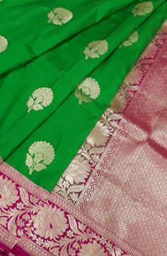 Green Handloom Banarasi Katan Silk Saree