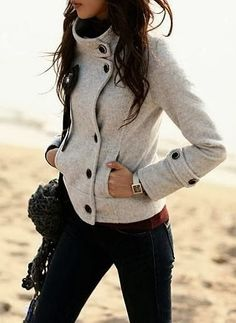Ladies winter fashion 2013:High collar ladies jacket. Love this, but it's not a cut that has historically fit me well.