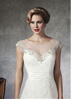 lovely jewel illusion neckline wedding dress