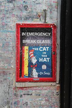 In Emergency Break Glass by SMKJR via vandalog #Street_Art #Photography #Cat_in_the_Hat #SMKJr