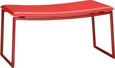 triumph red ottoman in ottomans, benches | CB2
