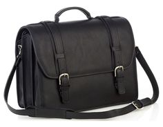 Triple Compartment Briefcase - Black - In stock - Front View