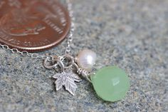 On Sale.Sterling Silver Oak Leaf, Milky  Green Quartz & Cream Freshwater Pearl Necklace.Oak Leaf Full / Autumn- Wedding, Gift For Her. on Etsy, $28.00