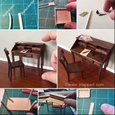 Make Simple Tables for Doll House or Miniature Scenes Miniature Crafts, Miniature Houses, Miniature Dolls, Dollhouse Tutorials, Diy Dollhouse, Dollhouse Miniatures, Diy Kids Furniture, Barbie Furniture, Furniture Stores