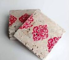 Red Damask stripe stone tile coasters set of 4 by midwooddesign