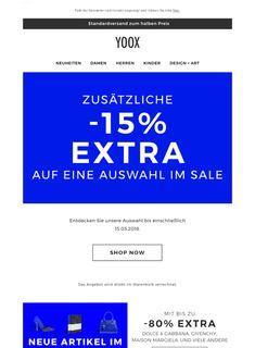 Erhalten Sie jetzt zusätzliche -15% EXTRA auf Sale-Artikel mit bis zu -80% EXTRA