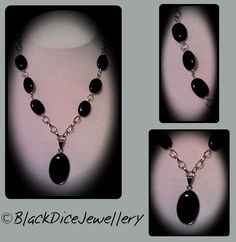 Handmade Jewellery - Necklace gift idea by BlackDice Jewellery found on MyOwnCreation: Black Onyx necklace, with silver tone oval ring chain. Measures approx 16 inches in length.