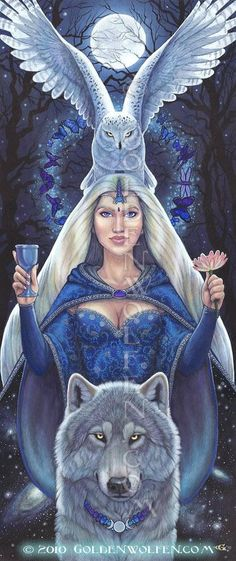 :::Minerva with her owl and wolf:::